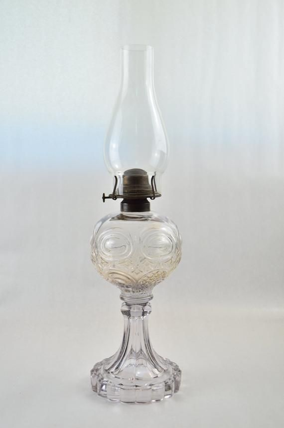 Antique Eapg Clear Circle Patterned Glass Oil Lamp Ca Late 1800s Early 1900s Oil Lamps Antique Oil Lamps Hurricane Lamp Shade