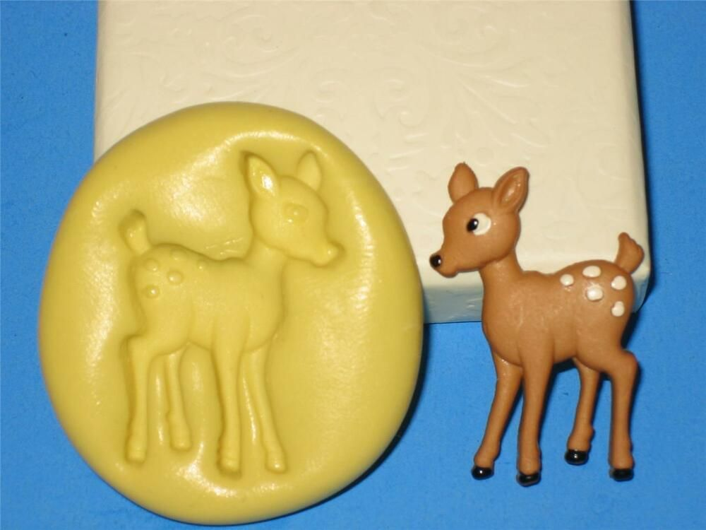 Deer Fawn Silicone Push Mold A12 For Craft Chocolate Fondant Clay Resin Sugar