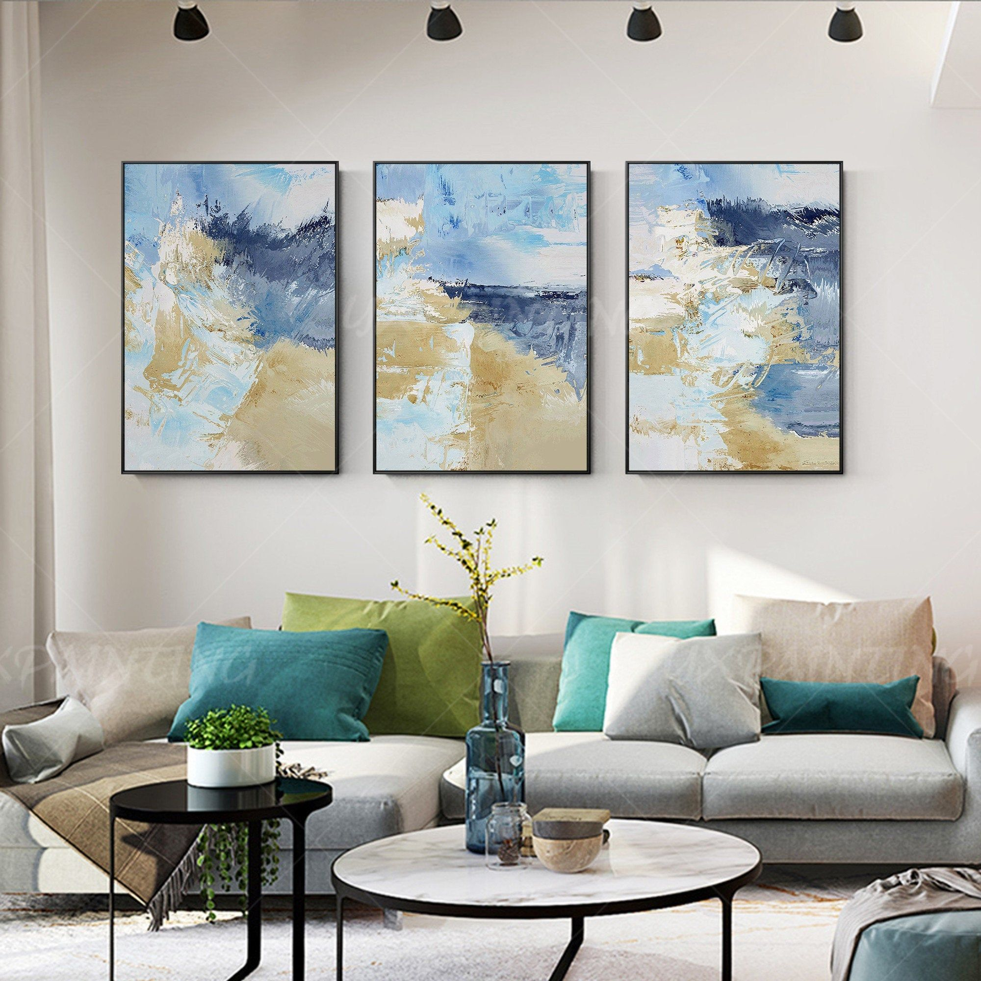 Framed Painting Wall Pictures Set Of 3 Wall Art Light Blue Sea Etsy In 2020 Wave Art Painting Painting Frames Wall Painting