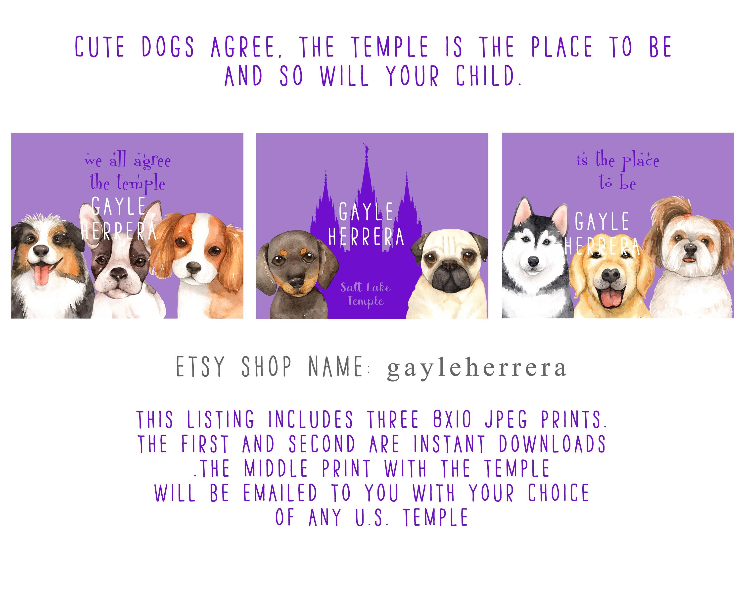 Cute Dogs Agree The Temple Is The Place To Be Etsy Cute Dogs