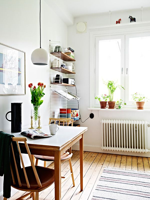 Small space kitchen, string pocket shelves, Cute table
