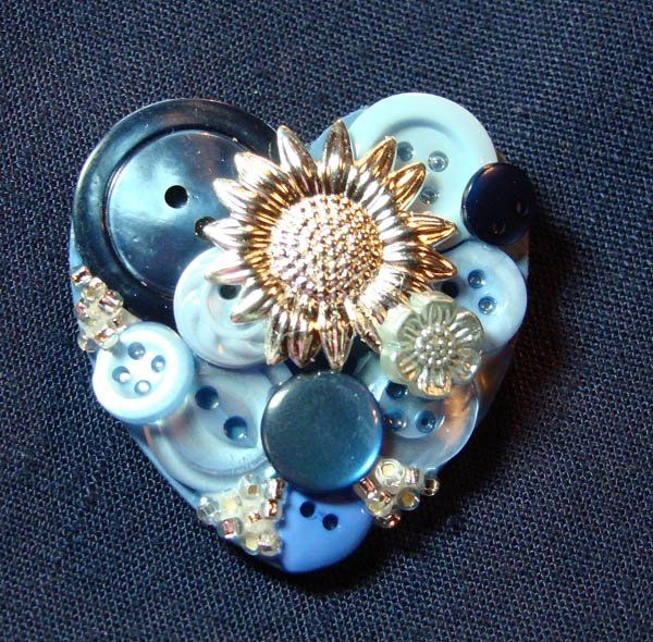 blue heart brooch