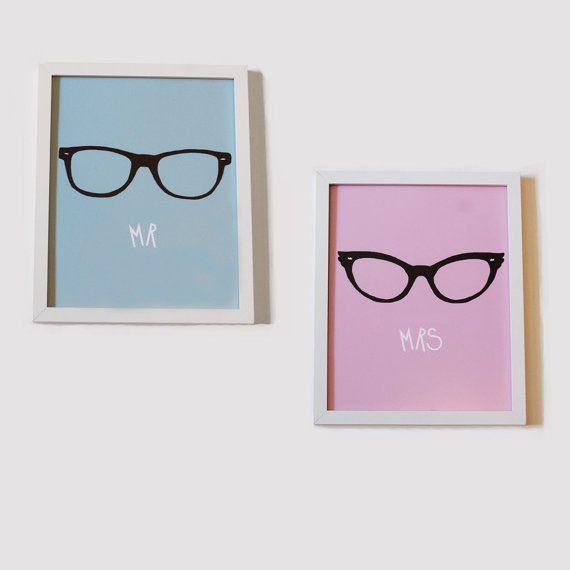 Mr & Mrs Print: Illustration With Geek Glasses. £24.00, via Etsy.