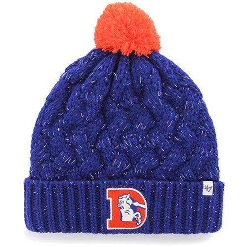 456b7864a23 Womens Denver Broncos  47 Brand Navy Blue Fiona Cuff With Pom Knit Beanie