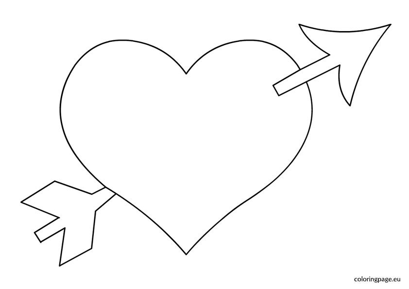 Heart With Arrow Coloring With Images Valentine Coloring Pages