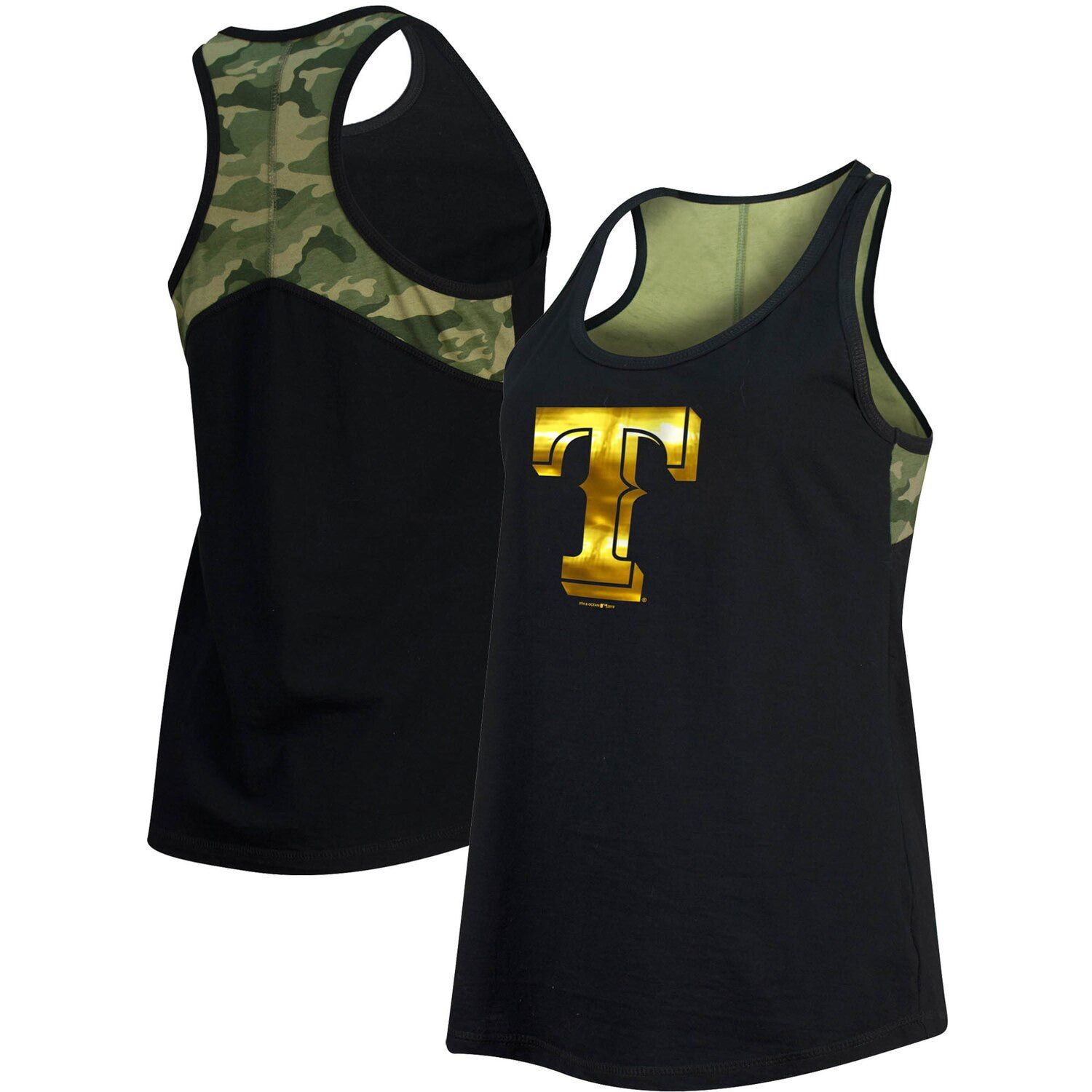 Women's New Era Black Texas Rangers Camo Racerback Tank Top #Affiliate #Black, #Texas, #Women, #Era