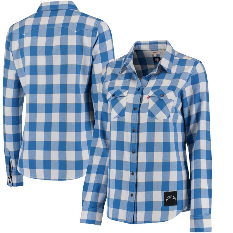 Los Angeles Chargers Levi s Women s Barstow Western Button-Up Long Sleeve  Shirt - Navy d23336b97