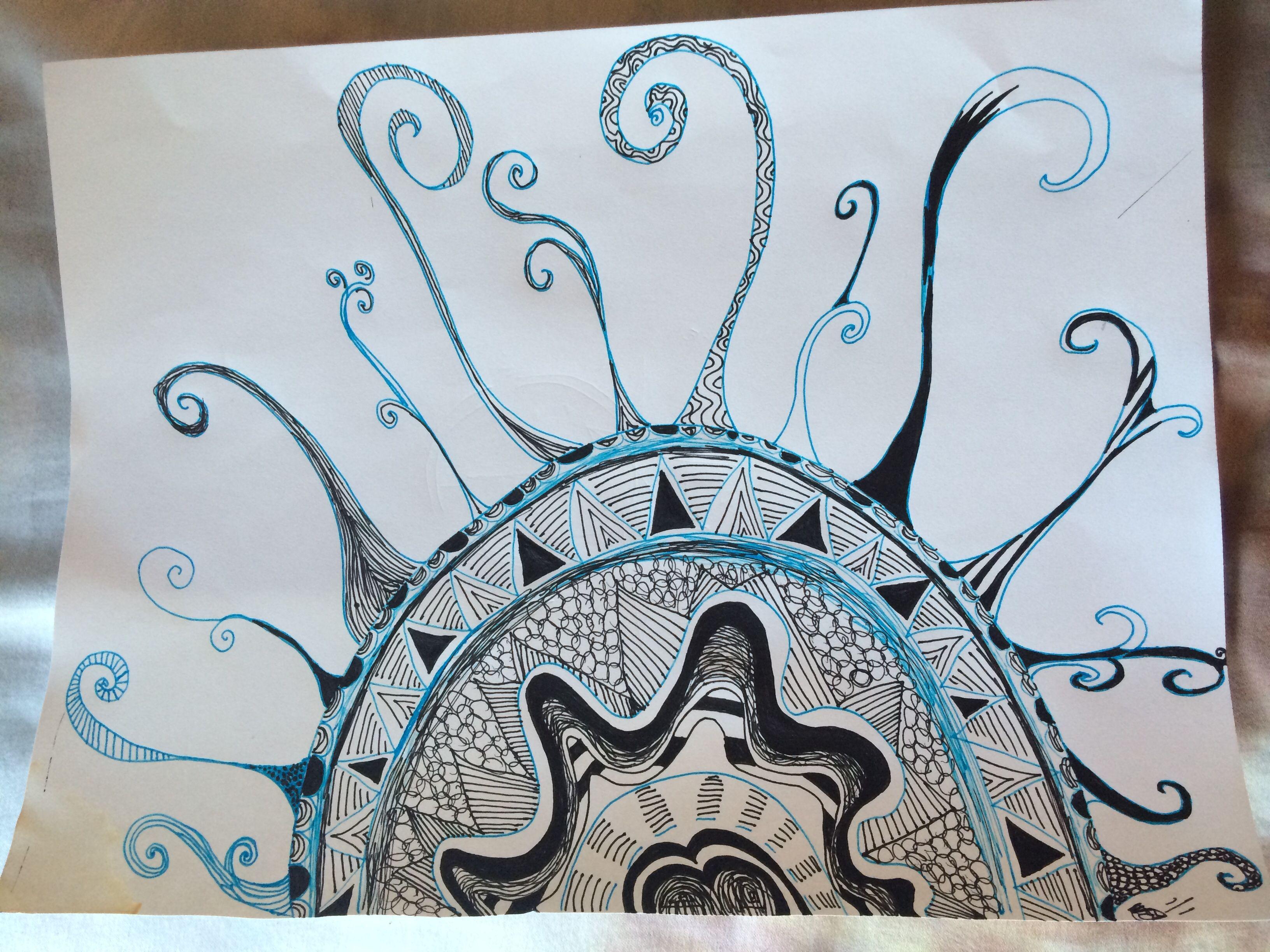 Doodle Drawing Black Optiflow Pen Blue Clicky Jell Pen