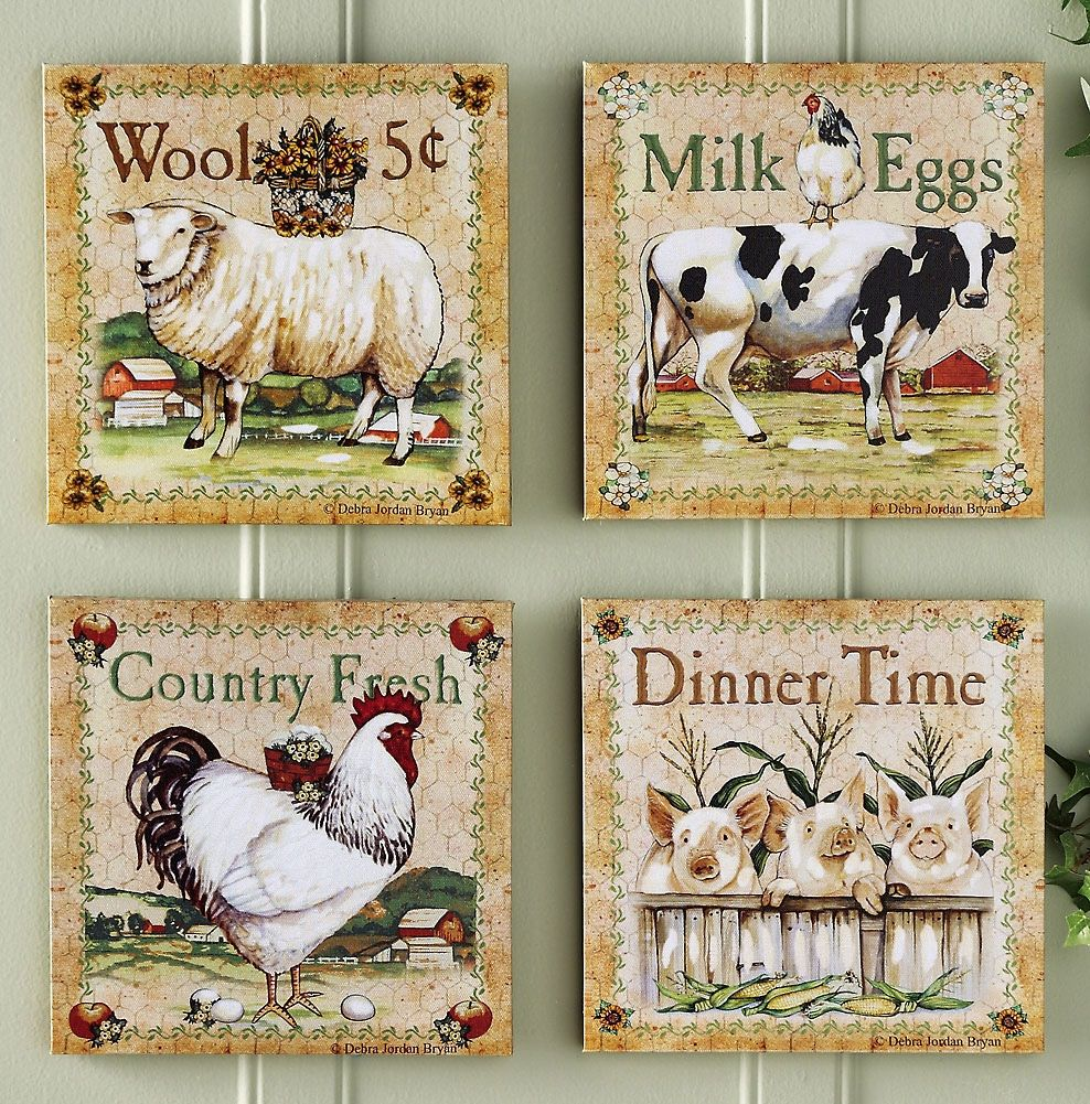 Farm Animal Kitchen Decor Set Of 4 Farm Animal Canvas Prints Wall Decor