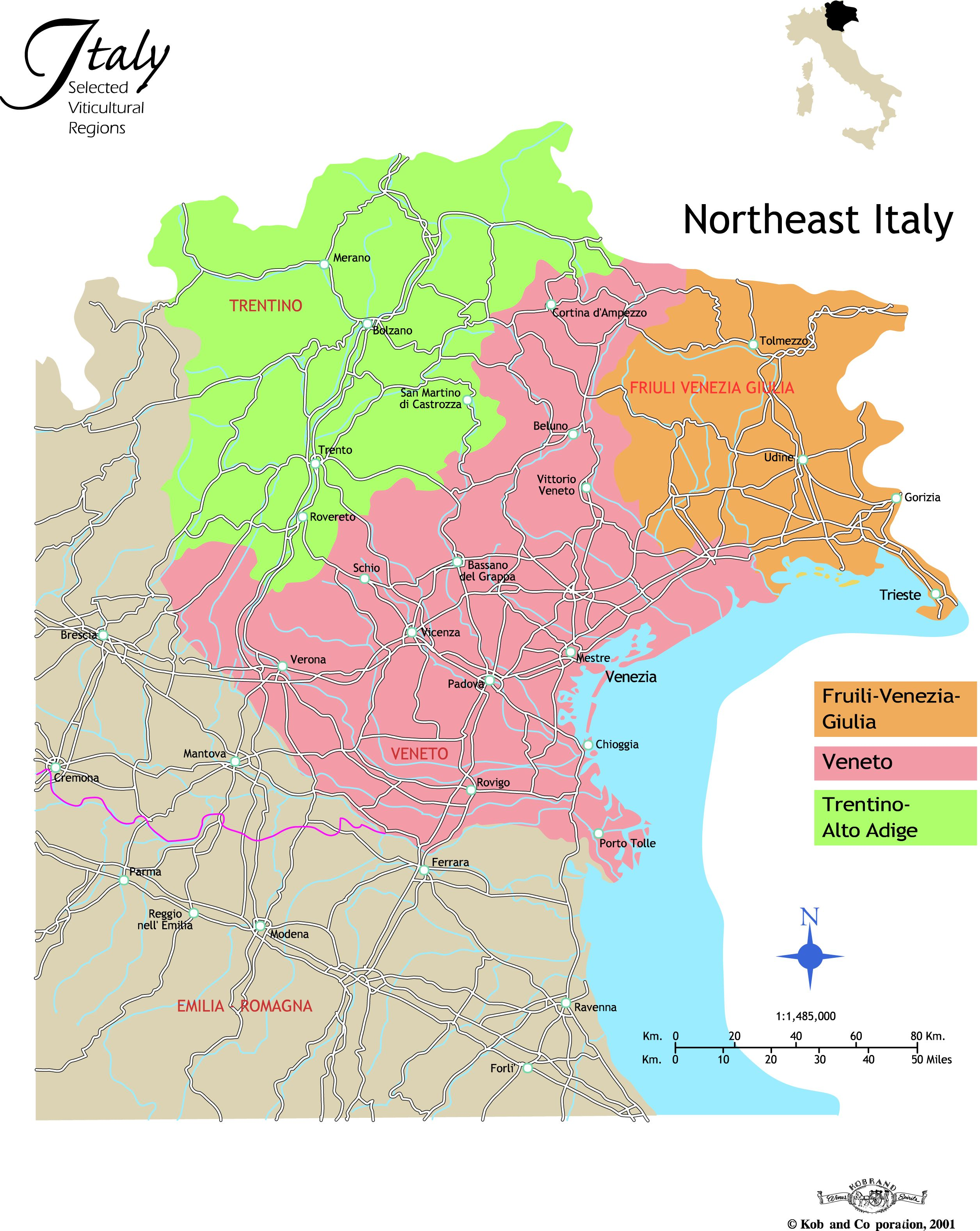 Map Of Eastern Italy.Northeast Italy