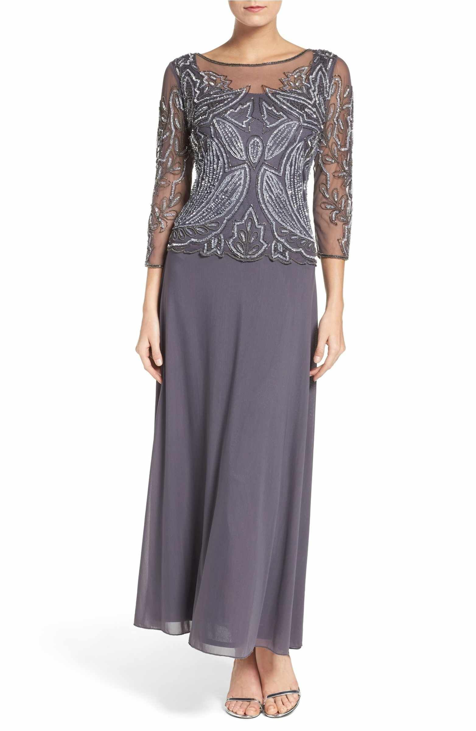 Embellished Mesh Gown Petite Gowns And Mob Dresses