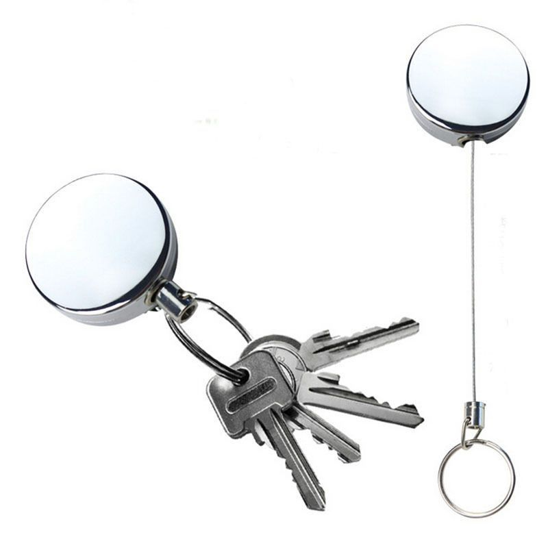Retractable Nylon Wire 60cm Keychain Keyring Key Chain Ring Clip Pull Holder