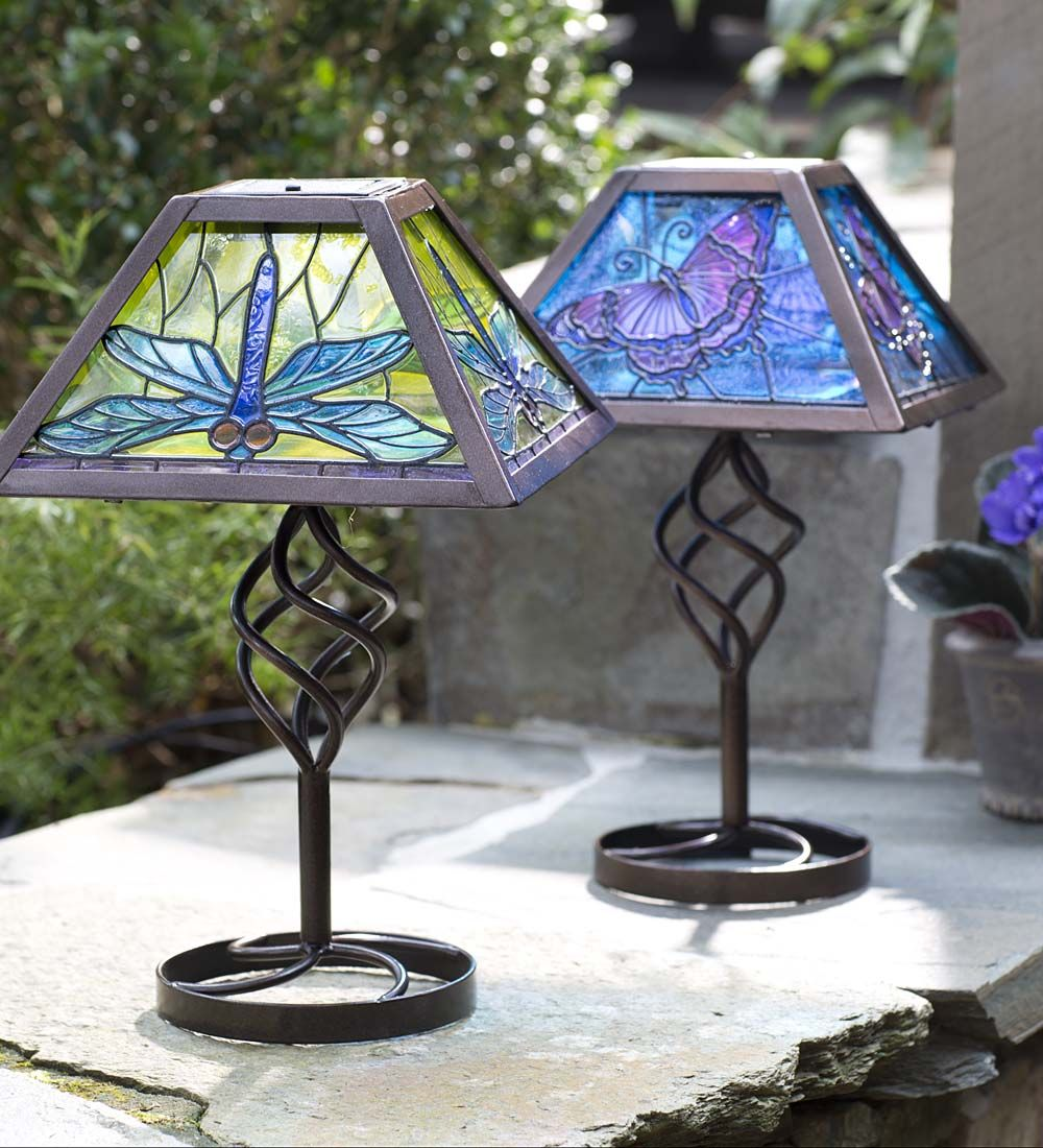 Tiffany Style Solar Outdoor Table Accent Lamp Lighting