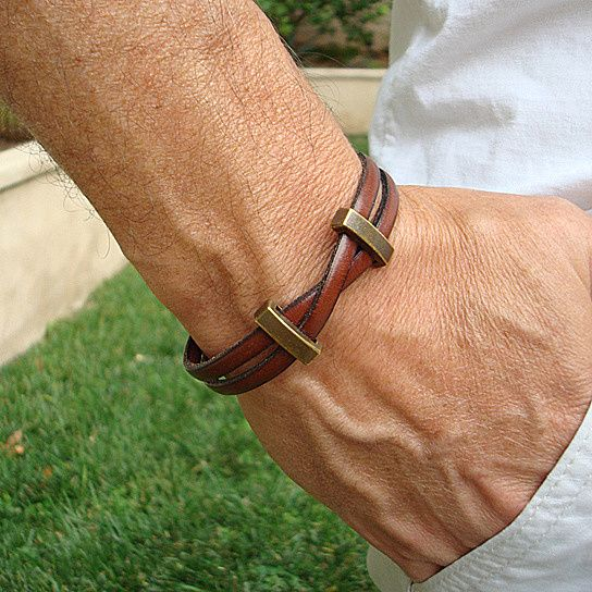 Photo of Genuine Tan Leather Bracelet with Magnetic Clasp