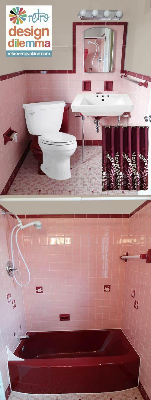Pink And Maroon Bathroom Retro Maroon Bathroom Pink Bathroom Tiles Pink Bathroom