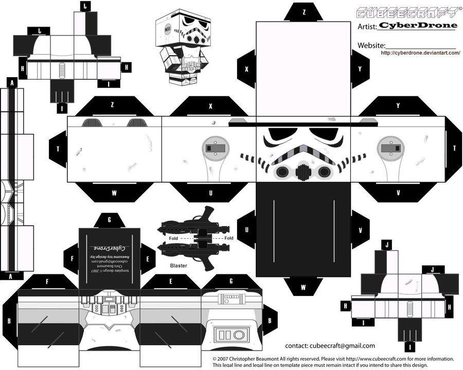 my custom version cubeecraft papercraft cutout template of a