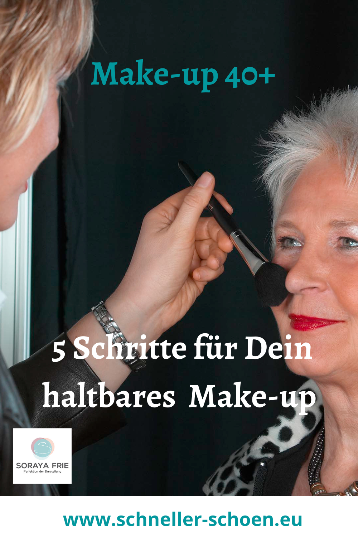 Wenn Du wissen möchtest, welche Schritte du in meinem Make-up Kurs lernst, um es haltbarer zu machen un djünger auszusehen, dann schau dir meinen Kurs auf meiner Website an! #Make-up 40+ #make-up 40´s for women#Typberatung vorher nachher# Soraya Frie# www.schneller-schoen.eu