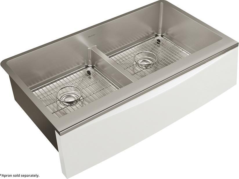Crosstown Stainless Steel 35 7 8 X 20 5 16 X 9 Double Bowl