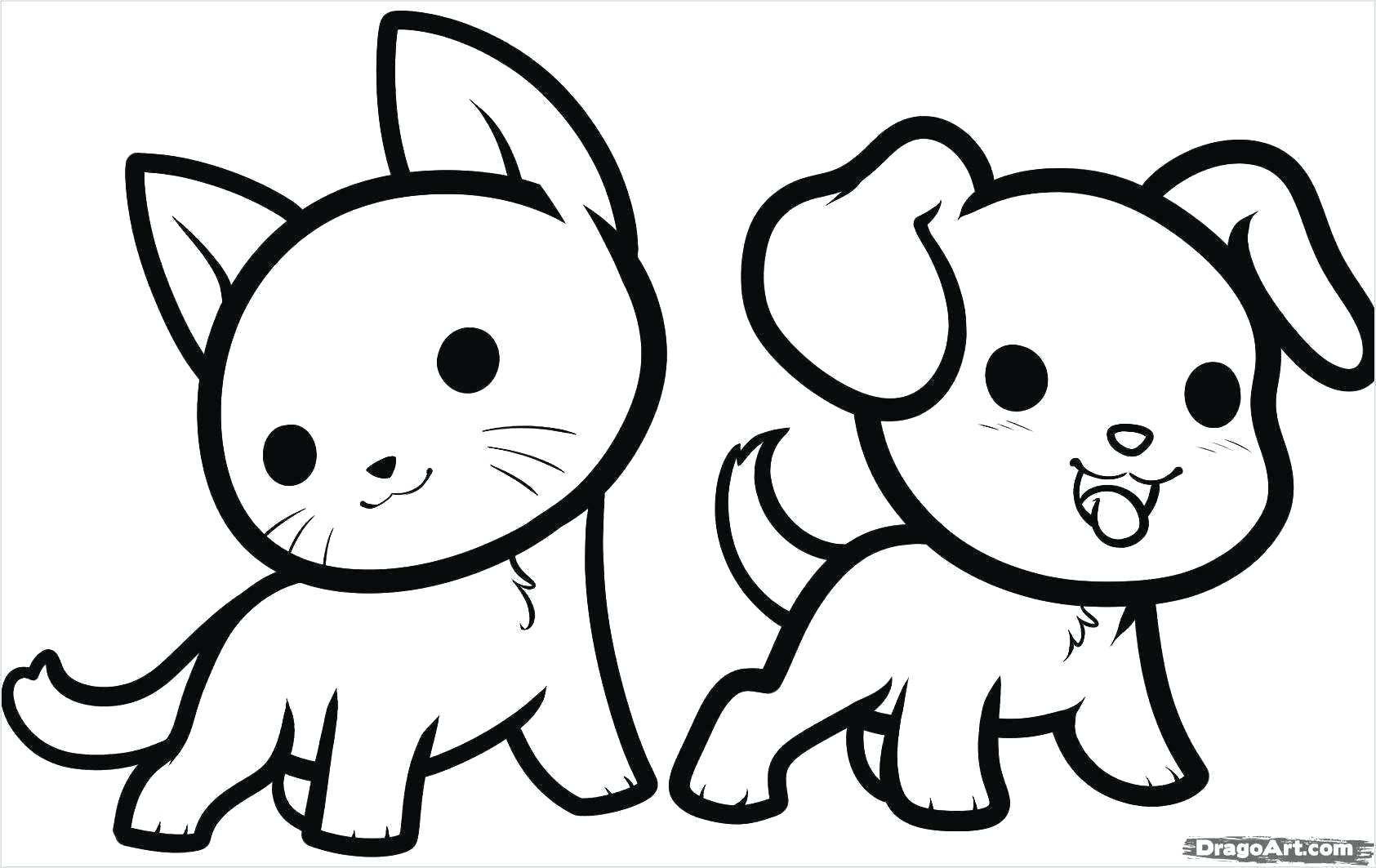 Puppy And Kitten Coloring Pages Ready To Print Cute Easy Animal Drawings Animal Drawings Animal Sketches Easy
