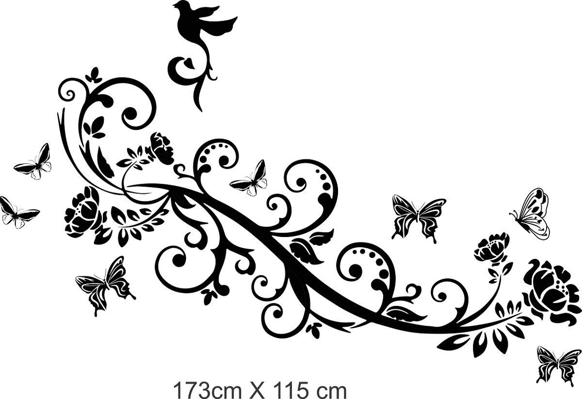 Vinilo pared ramas y mariposas decoracion wall stickers - Mariposas decoracion pared ...