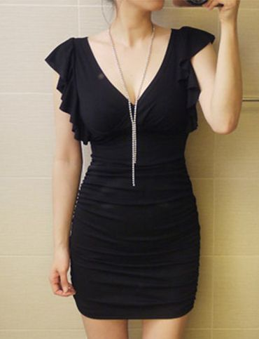 Flowing Ruffle Trim Lace Panel Bodycon Dress For Women   Item Code 716405 at M.EastClothes.com