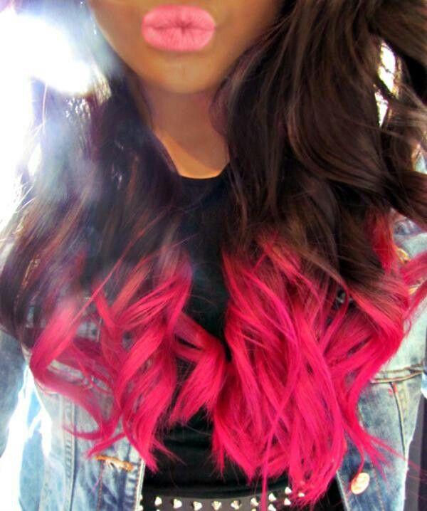 brown pink dip dye hair dyed pinterest dip