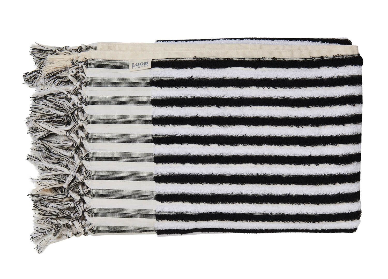 Loom Black And White Stripe Bath Towel With Images Striped