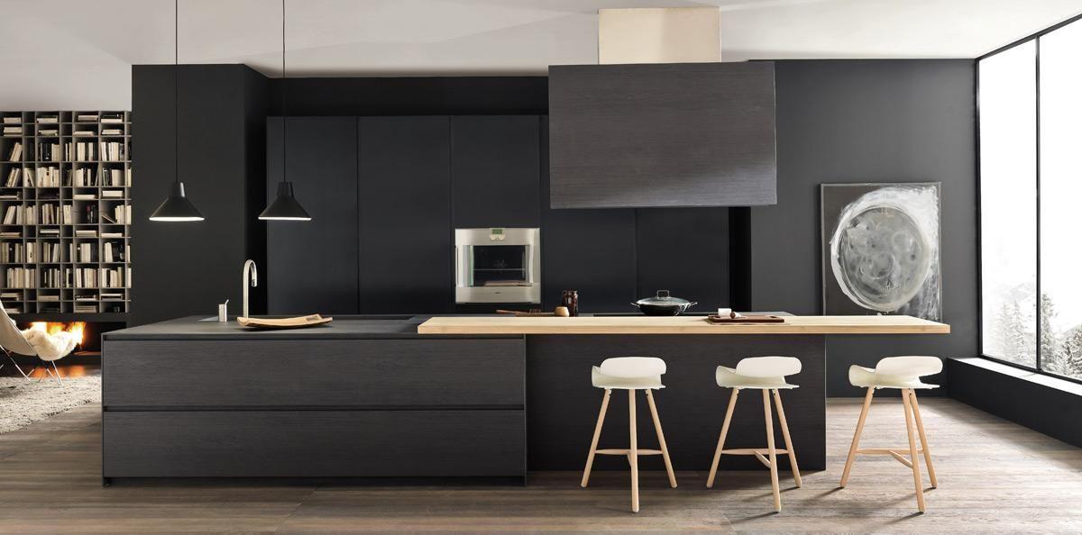 Black Wood Against Pale Contemporary Kitchen