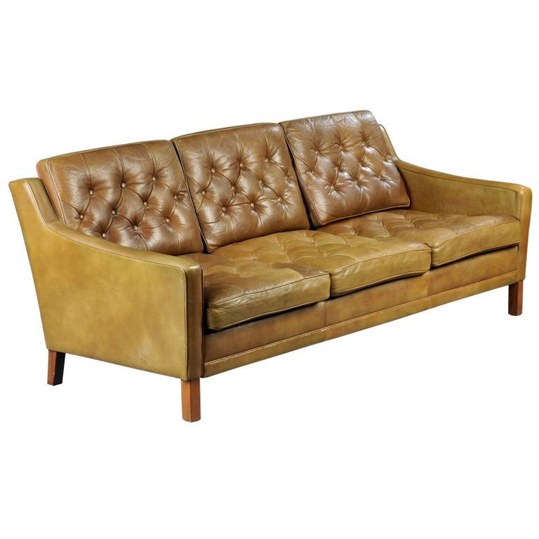 Danish Tufted Leather Sofa Tufted Leather Sofa Vintage Sofa Tufted Leather