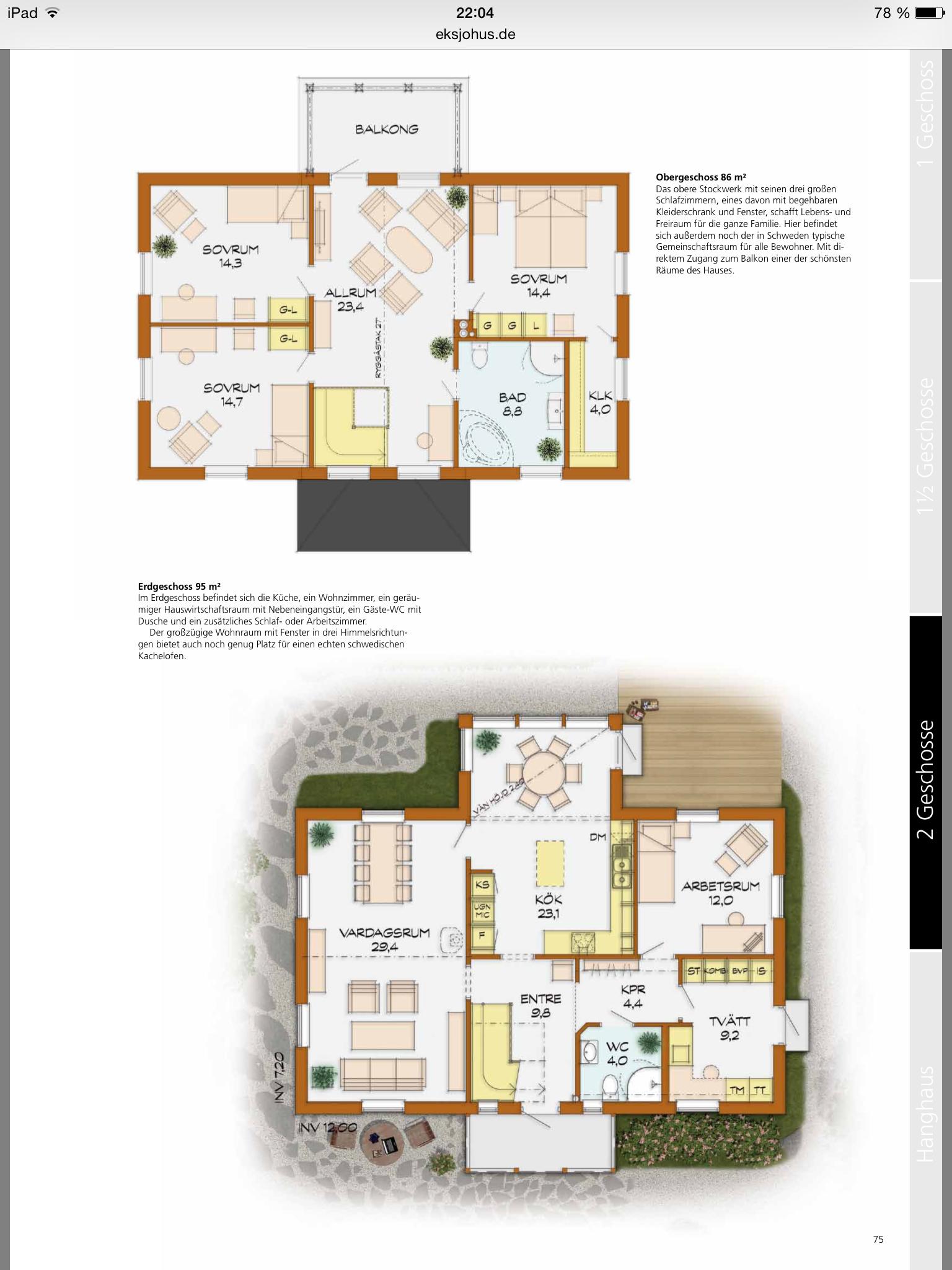 Mellangarden Eksjöhus Haus grundriss, Haus hanglage und