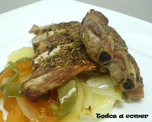Receta de costillas de cerdo asadas con verduras