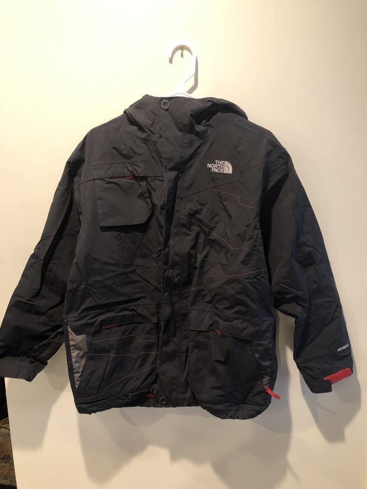 cb4f73d0c The North Face Jacket Boys Xl 2 In 1 Fleece Nylon Hyvent Black Gray ...