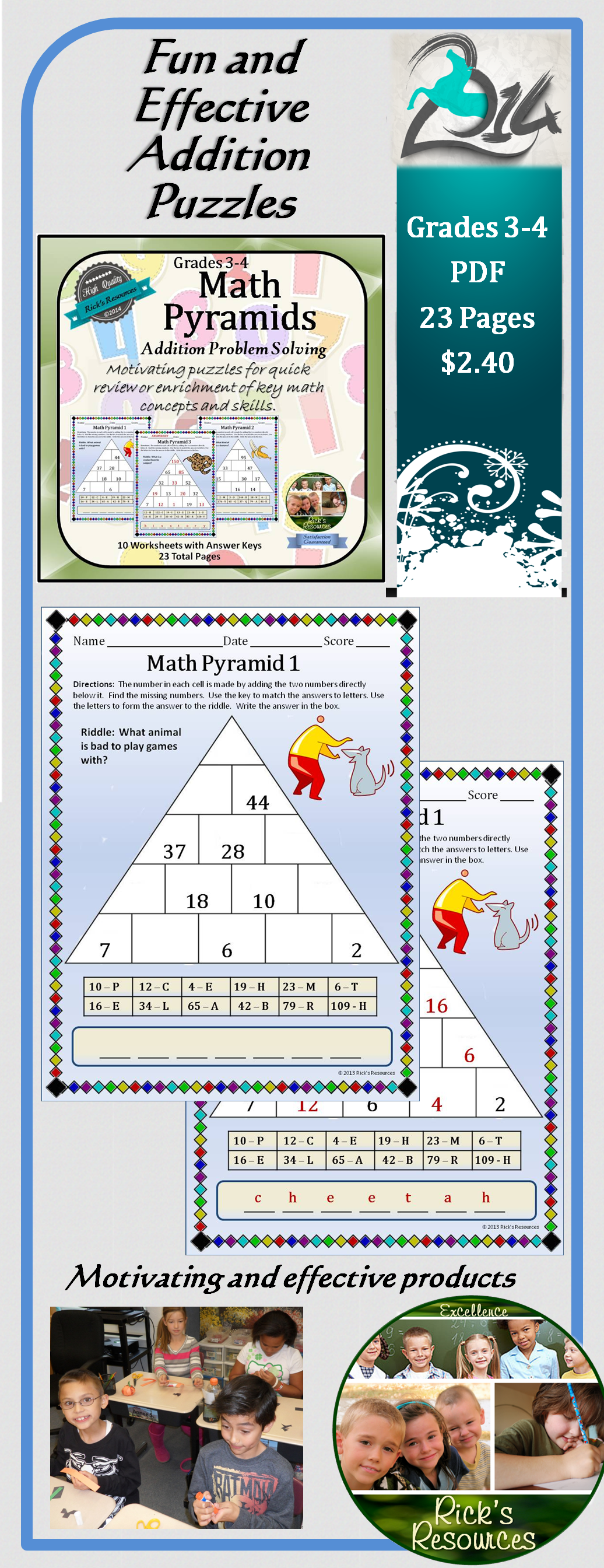 Math Puzzles Adding And Subtracting Pyramids