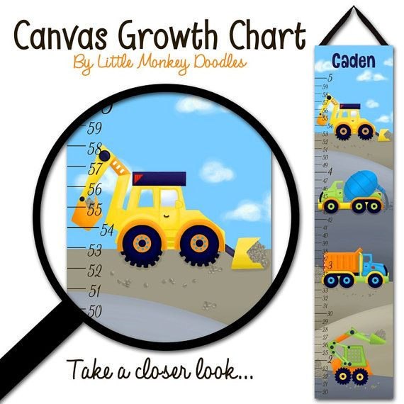 Canvas Growth Chart Bright Construction Trucks Boys Bedroom Baby