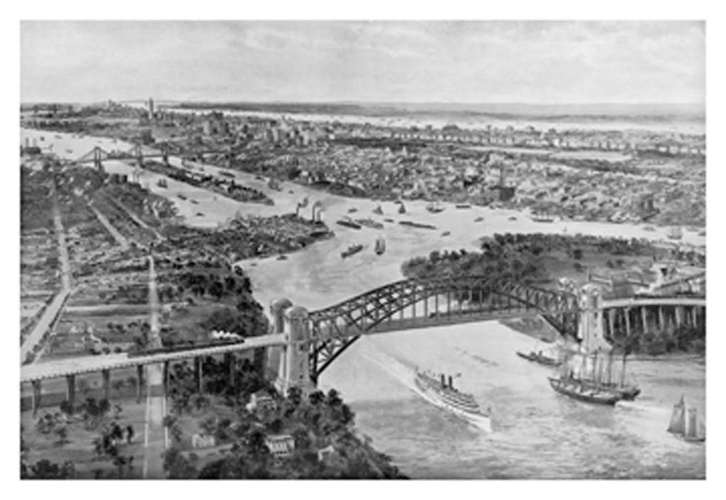 East River and Hell Gate Bridge, by Moses King