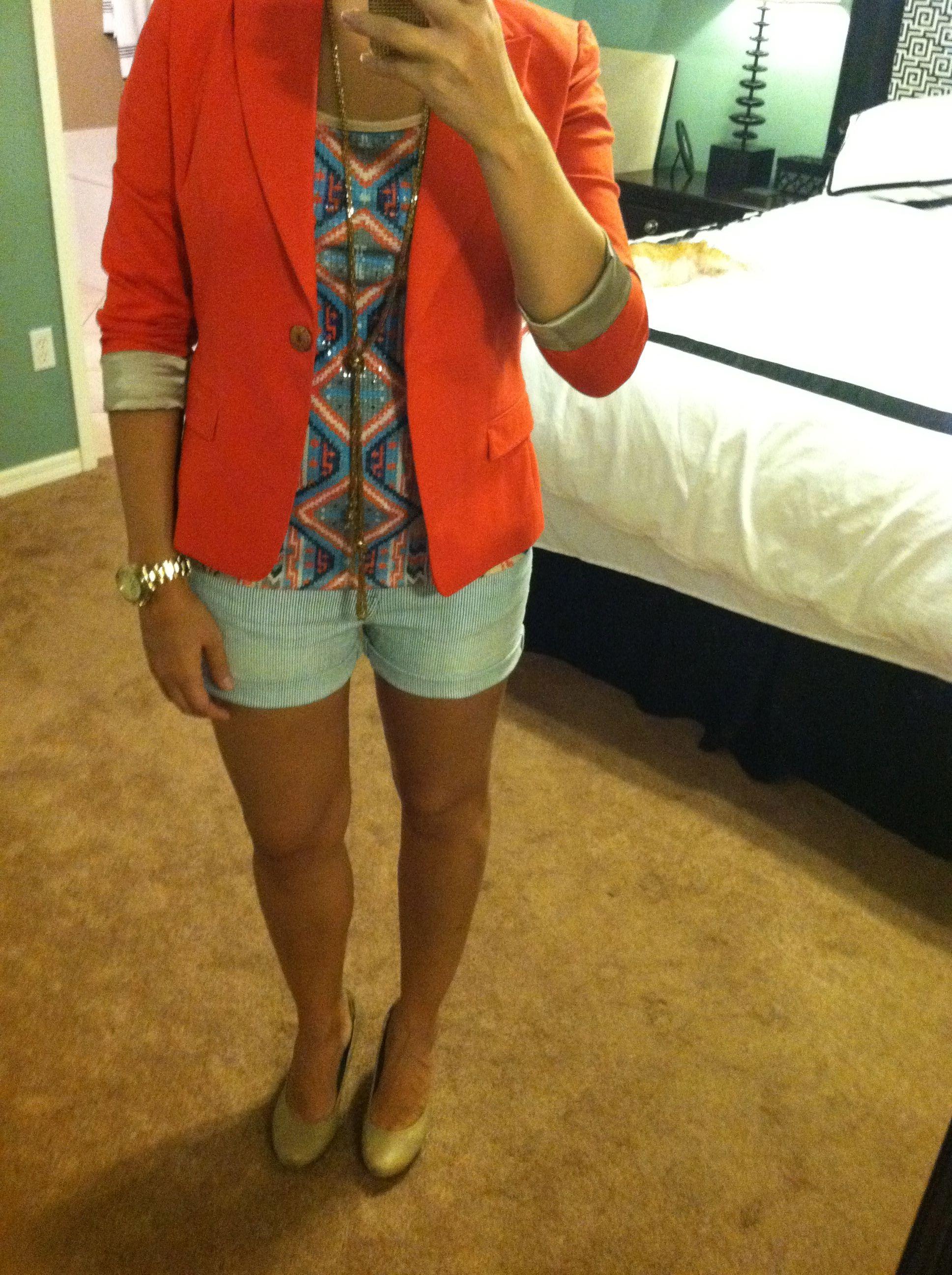 1b7c06a71ce Blazer - Tahari (part of a Tahari suit) Shirt - TJ Maxx Necklace - Vintage  from my Gramma s closet Shorts - Macy s Shoes - Gianni Bini - Dillards