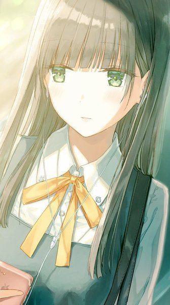 Dark hair green eyes student girl