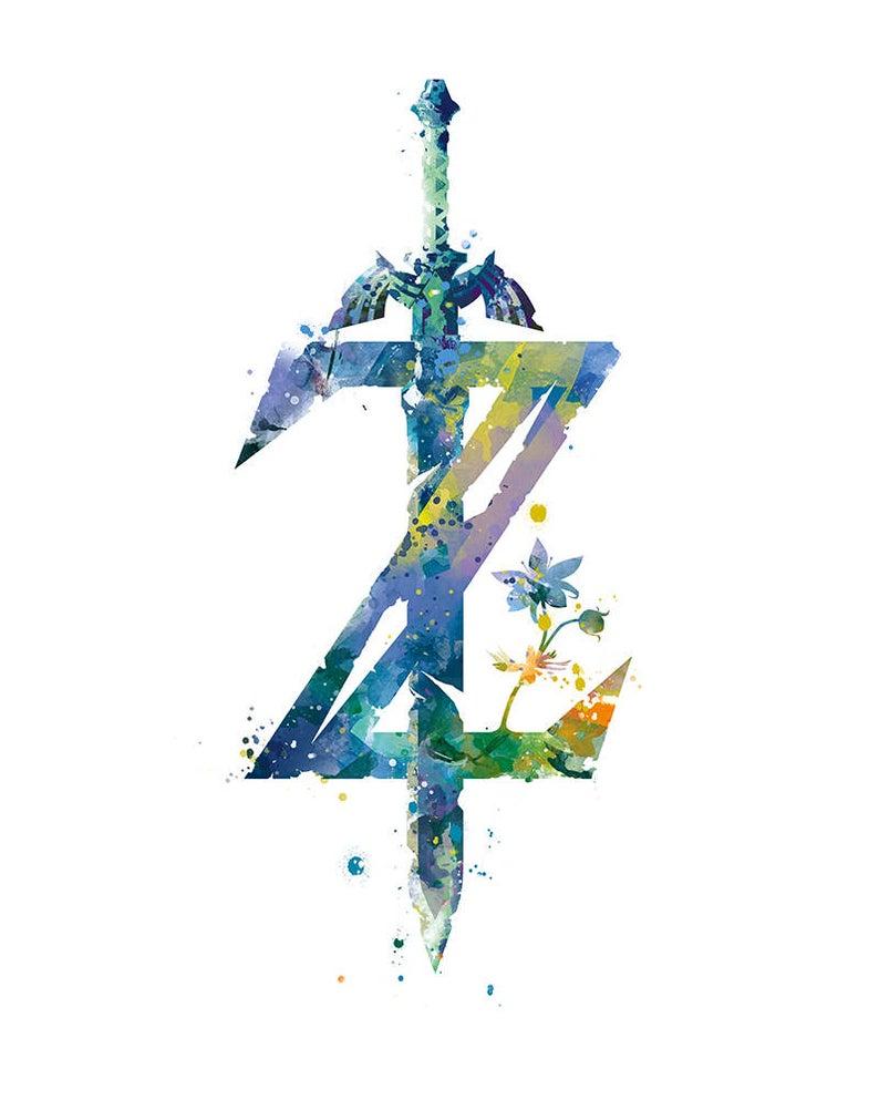 Legend Of Zelda Breath Of The Wild Print Nintendo Video Game Etsy Zelda Tattoo Legend Of Zelda Tattoos Zelda Sword