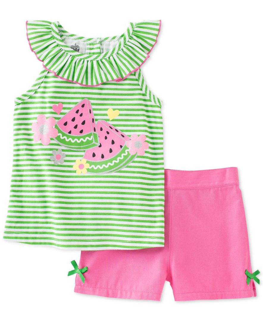 932641ddc Kids Headquarters Toddler Girls' 2-Pc. Watermelon Tunic & Shorts Set ...