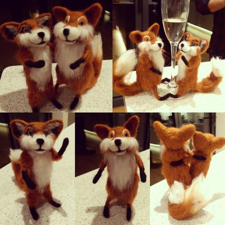 Needle felt foxes,  Cute fox couple, handmade felt crafts,wedding cake toppers, sculptures