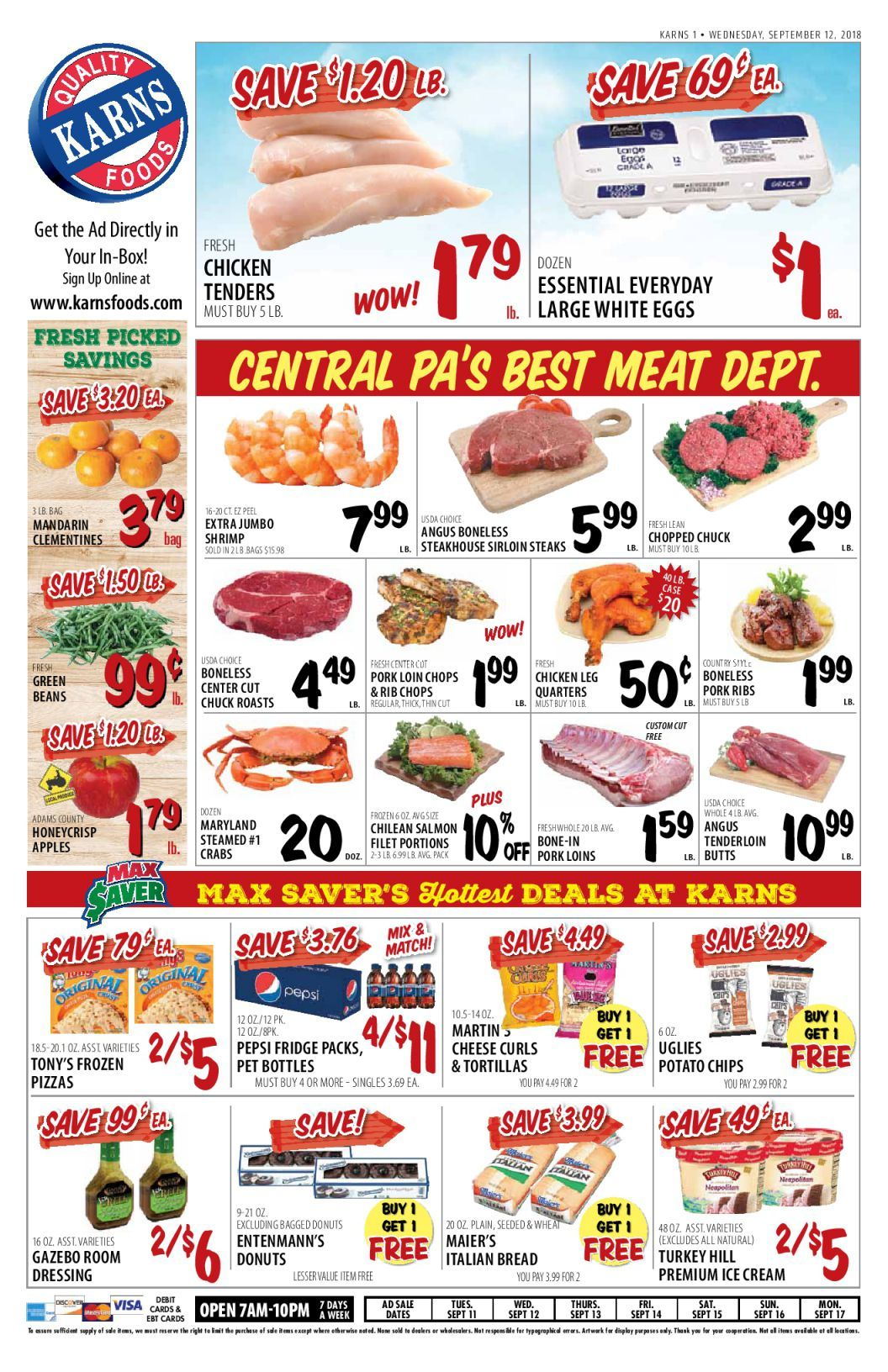 Karns quality foods weekly ad flyer september 10 16