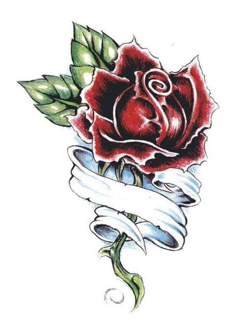 Barbed Wire Rose Tattoo: Single Rose Tattoo 13