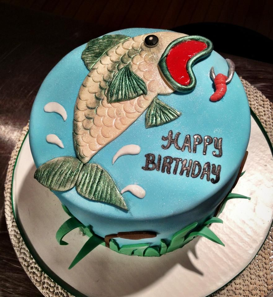 Bass fishing birthday cake creation sweet cakes for Fishing cake ideas