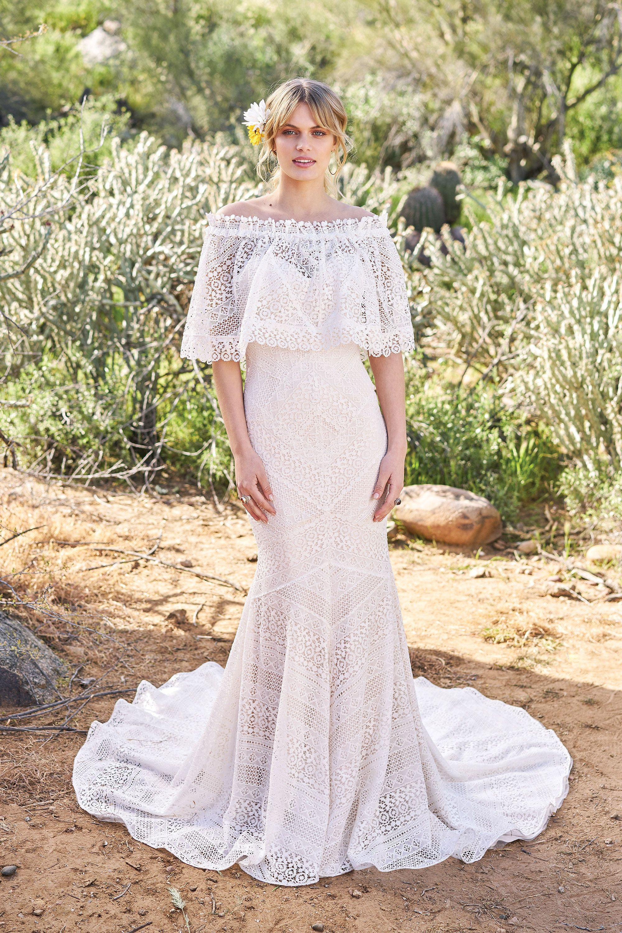 Fit and flare lace wedding dress  Geometric Lace Fit and Flare Gown with Matching Cape   Our