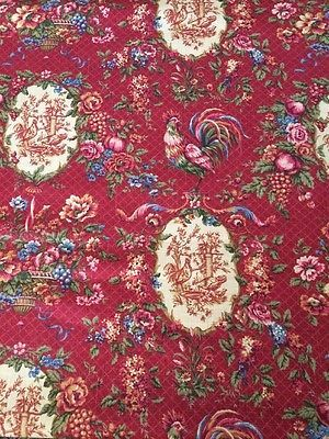 Waverly Saison De Printemp Bordeaux Rooster Red Gold French Country Toile Fabric Toile Fabric French Antiques Red Gold