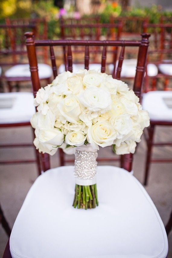 ivory bouquet, sparkly ribbon reception wedding flowers ...