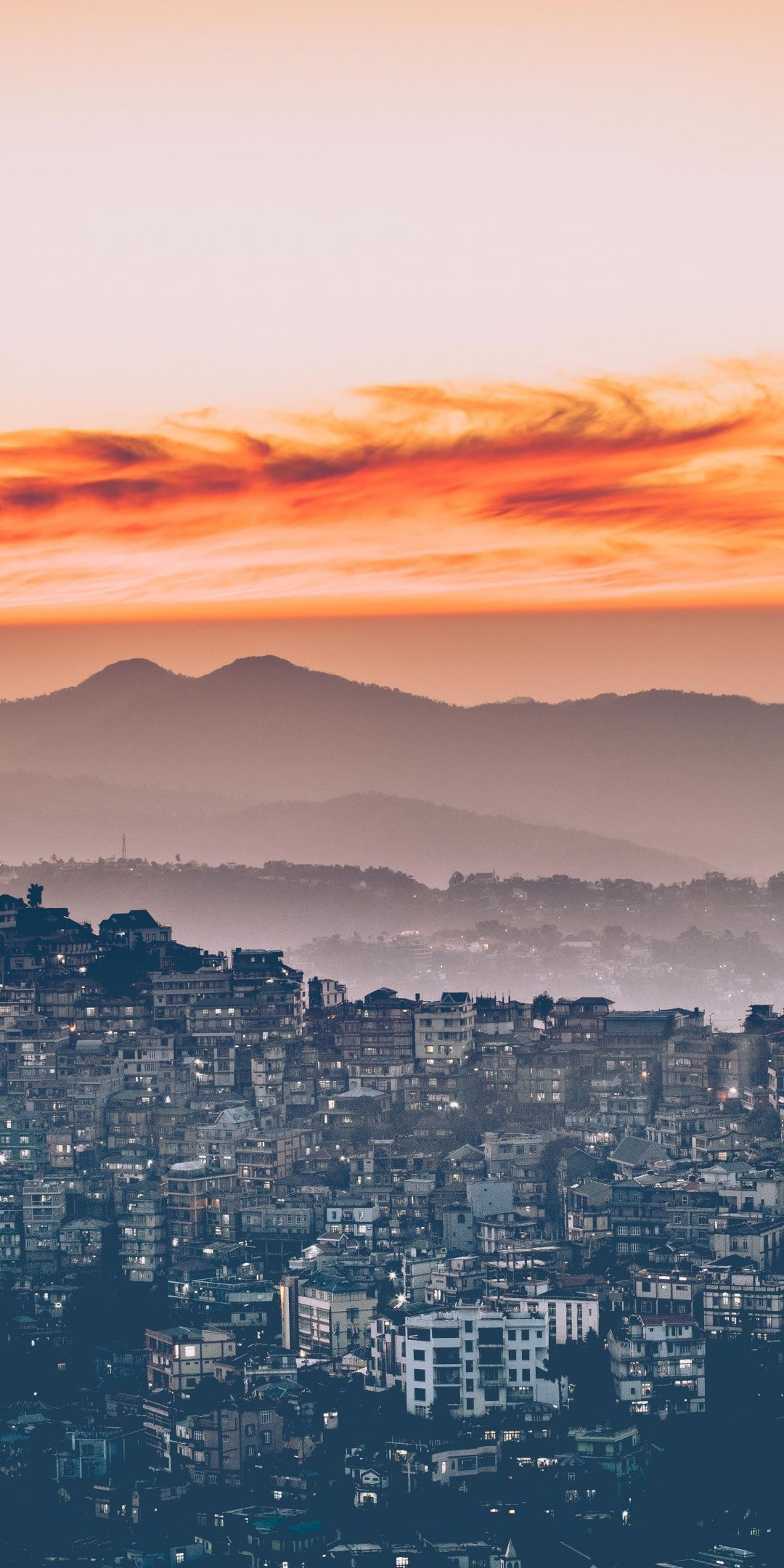 City, sunset, horizon, aerial view wallpaper View