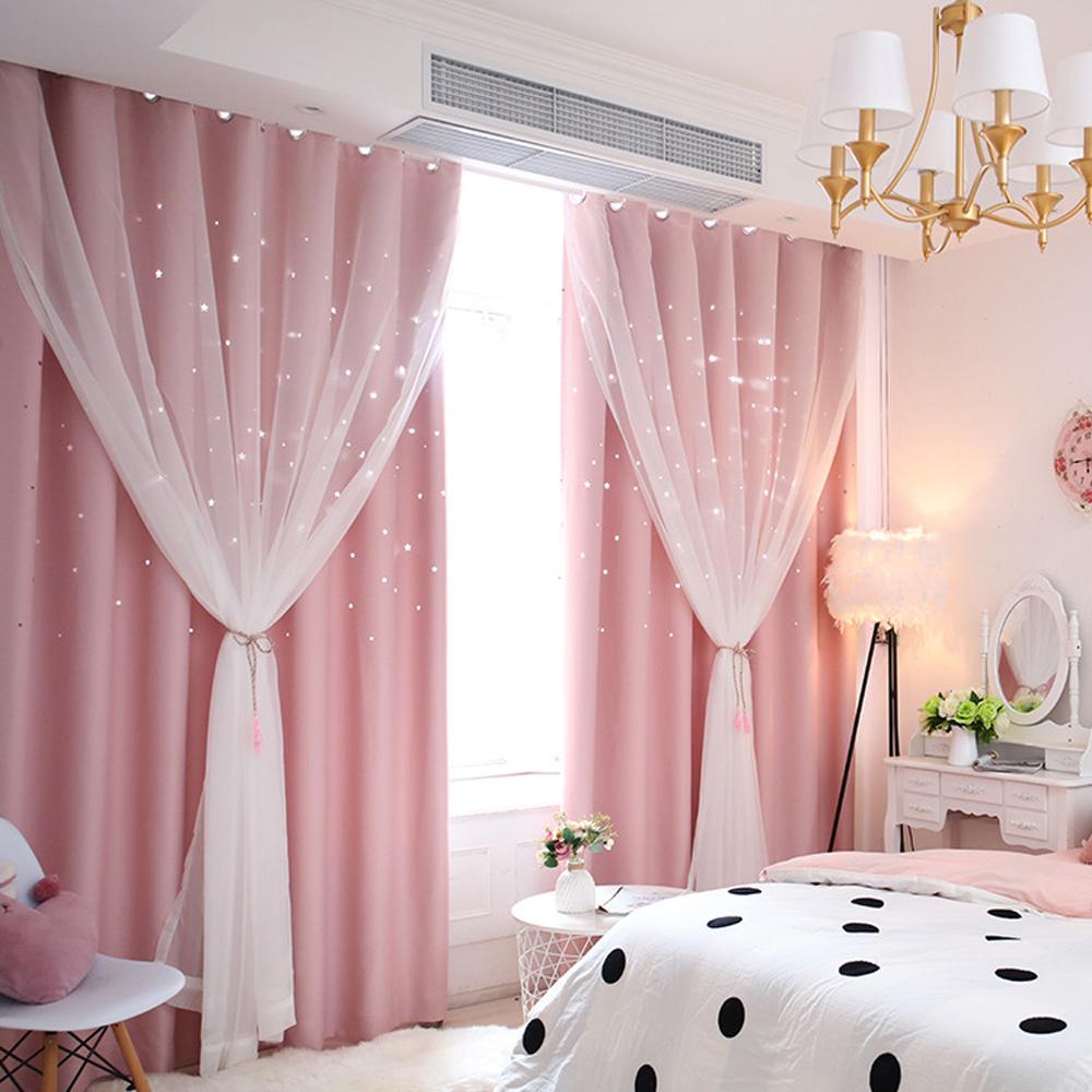 Moderner Vorhang mit transparenter Gardine Hohle Sterne