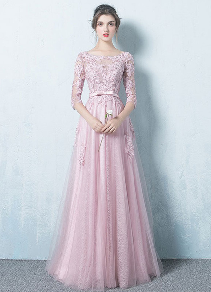 Pink Evening Dress Tulle Backless Prom Dress Lace Applique Three Quarter  Sleeve Sash A Line Maxi Occasion Dress 7c5d722f926e