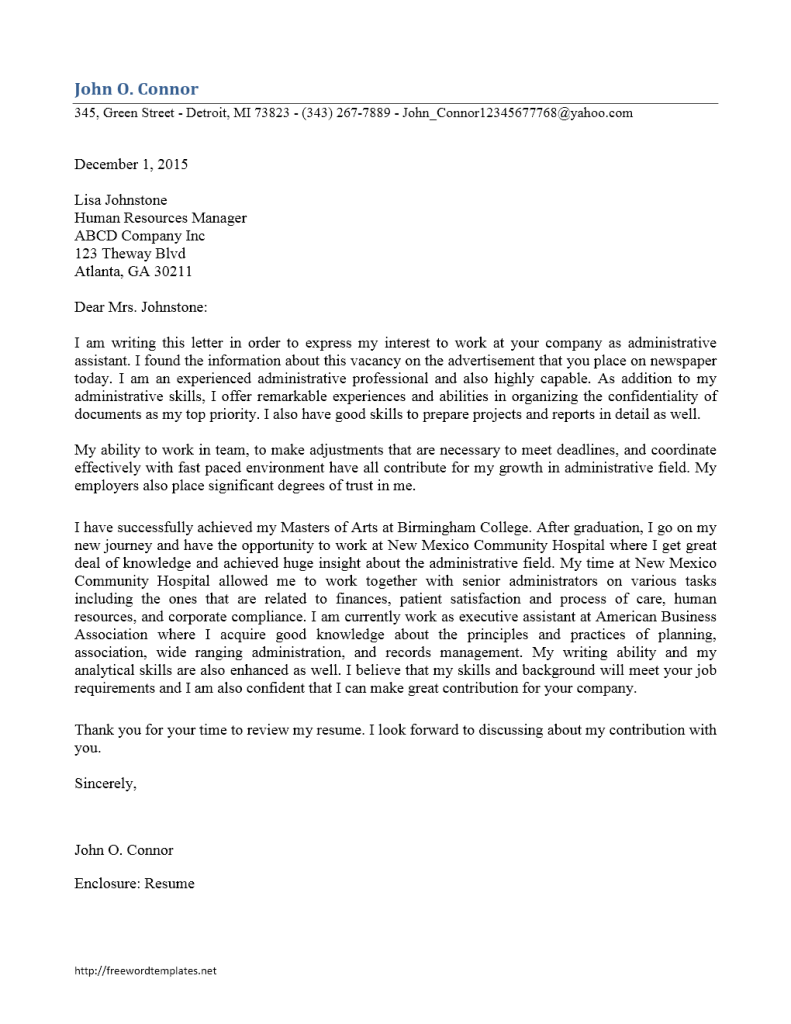 sample cover letter for executive assistant job